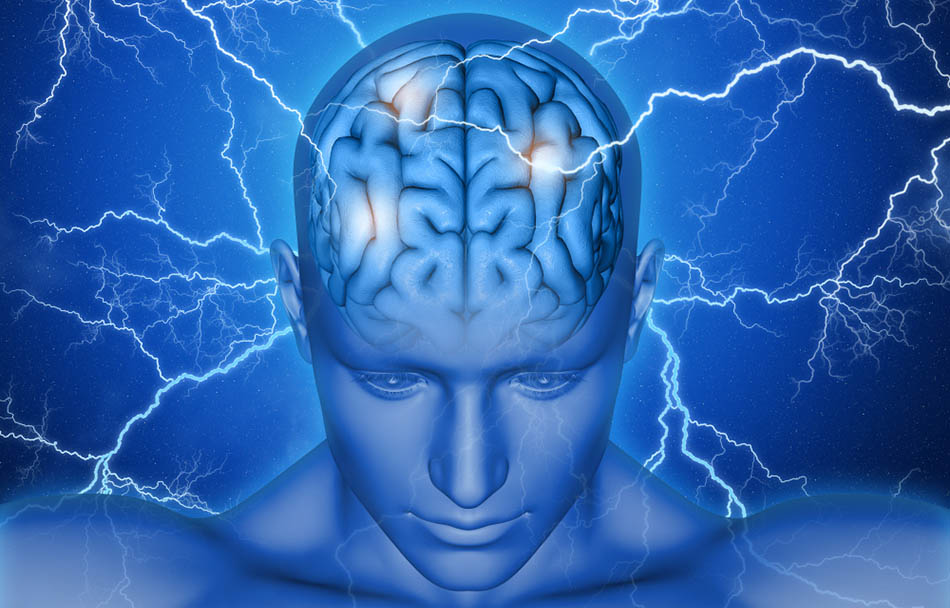 Blue virtual man showing brain surrounded by lightning | How Modalert Works