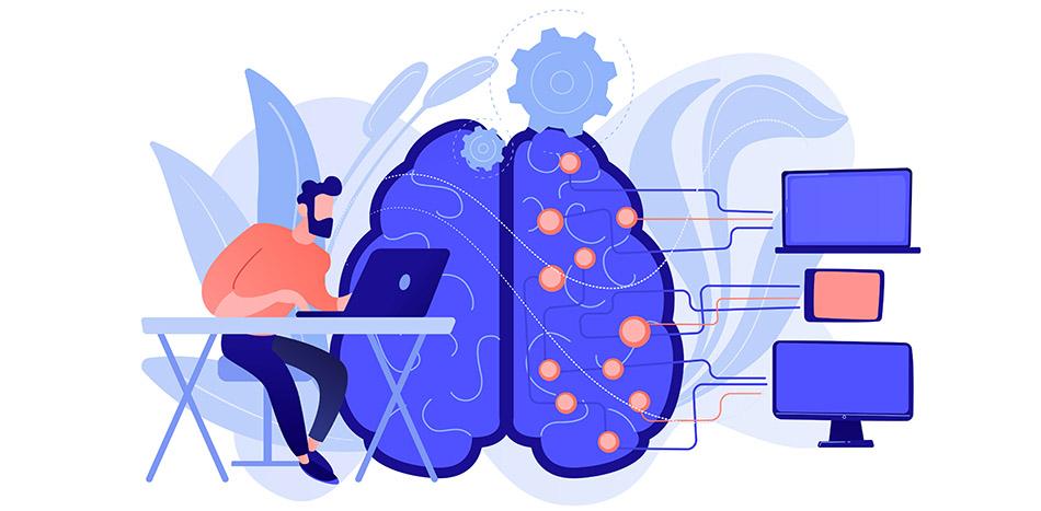 Illustration of man working on laptop with modafinil brain activity