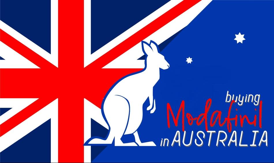 Buying Modafinil in Australia | Flag of Australia and Kangaroo Outline