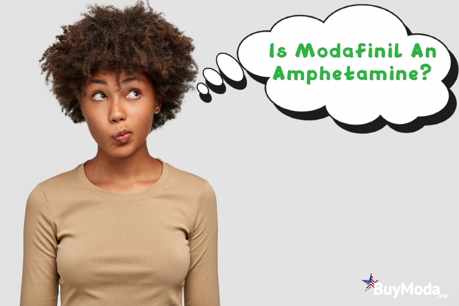 Is Modafinil An Amphetamine? | Curly-haired black girl thought bubble