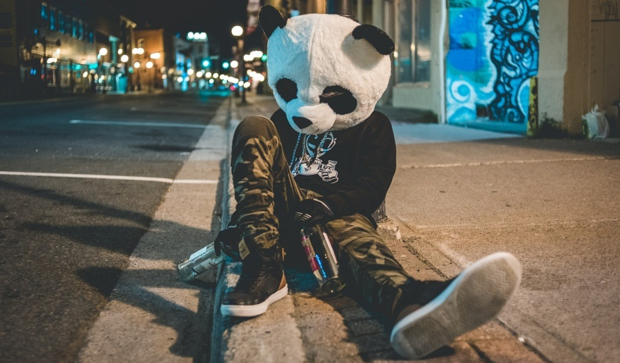 Man wearing polar bear head is crashed out on curb side with empty bottles of alcohol