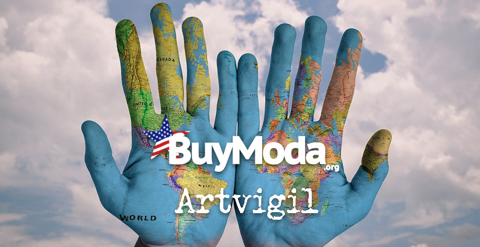Globe painted onto palm of hands with text layer | Buy Moda Artvigil