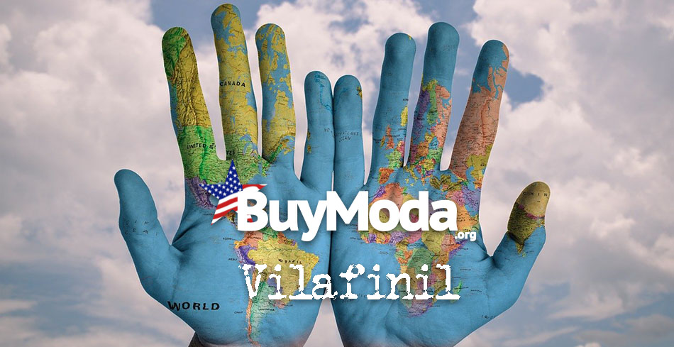 Globe painted onto hands with text layer | Buymoda Vilafinil