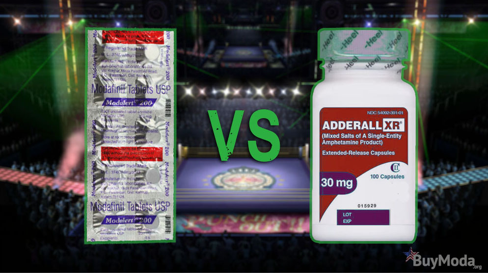 Modafinil vs Adderall Products Highlighted with Boxing Ring in the Background