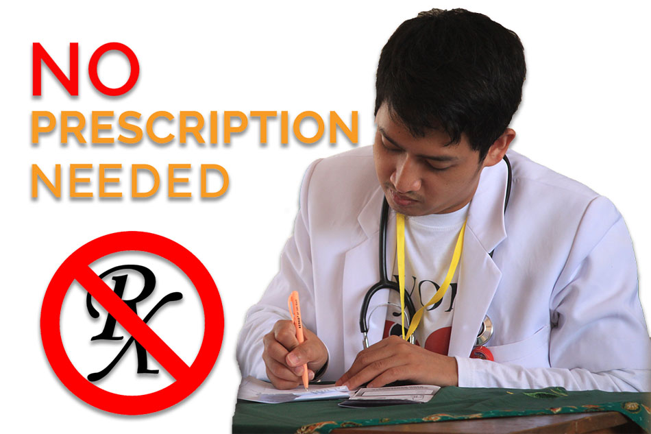 No Prescription Needed | Sign with doctor writing a patient prescription