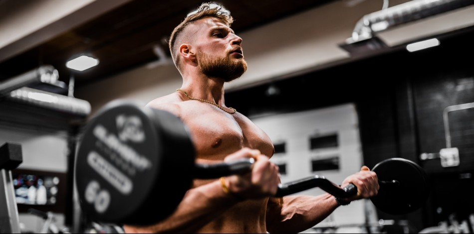 Topless man in gym lifting weights | barbell curls | Working out on Modafinil